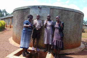 The Water Project: Shitaho Community School -  Mrs Lodeki Students And Rose At The Rain Tank