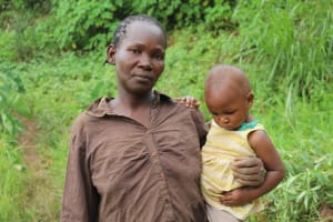 The Water Project: Shitoto Community, Mashirobe Spring -  Judith Kanga With Her Baby