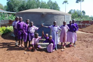 The Water Project: Magaka Primary School -  Students With The New Tank