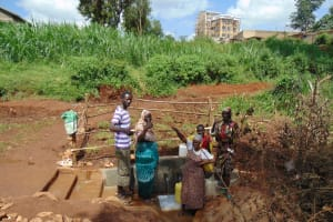 The Water Project: Lutonyi Community, Lutomia Spring -  Happy Group At The Spring