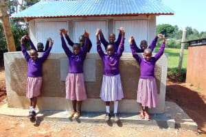 The Water Project: Magaka Primary School -  Girls In Front Of New Latrines