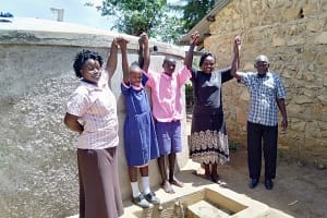 The Water Project: Makuchi Primary School -  Madam Misiko Linda Moses Field Officer Karen And Head Teacer Mr Mukasa Indeche