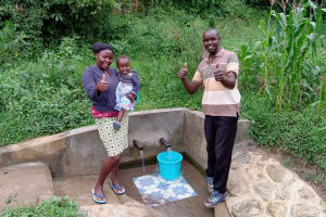 The Water Project: Luvambo Community, Timona Spring -  Mercy And Field Officer Wilson Kipchoge