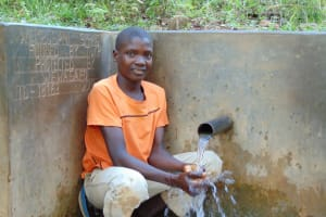 The Water Project: Upper Visiru Community, Wambosani Spring -  Feeling The Spring Water