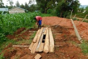 The Water Project: Kimangeti Primary School -  Latrine Foundation Construction