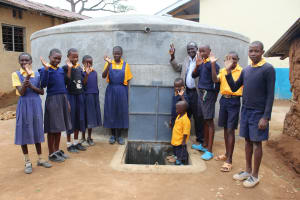 The Water Project: Friends Primary School Givogi -  Students And Staff With The New Tank