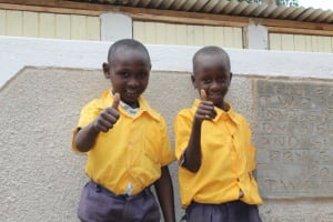 The Water Project: Friends Primary School Givogi -  Thumbs Up For New Latrines