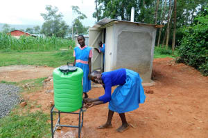 The Water Project: Kimangeti Primary School -  Handwashing Outside The Latrines