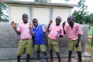 The Water Project: Kimangeti Primary School -  Boys With Their New Latrines