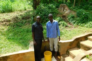 The Water Project: Samisbei Community, Isaac Rutoh Spring -  Calvin With Field Officer Wilson