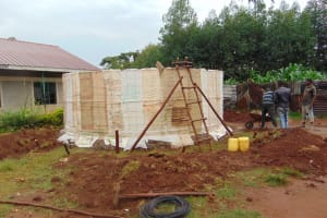 The Water Project: Magaka Primary School -  Rain Tank Walls Going Up