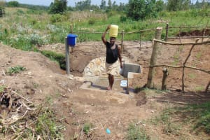 The Water Project: Shihungu Community, Shihungu Spring -  Happy With Fresh Spring Water