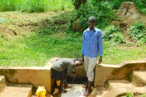 The Water Project: Samisbei Community, Isaac Rutoh Spring -  Calvin Laughs Faith Plays With The Water