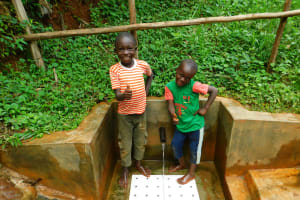 The Water Project: Asimuli Community, John Omusembi Spring -  Kids Pose With The Spring