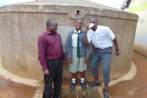 The Water Project: Precious School Kapsambo Secondary -  Enjoying A Drink