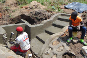 The Water Project: Sasala Community, Kasit Spring -  Cementing And Plastering Continue