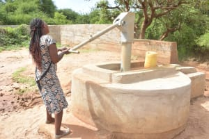 The Water Project: Karuli Community D -  Pumping Water Into Container A Year After The Well Was Built