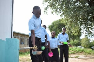 The Water Project: Kyamatula Secondary School -  Filling Up Container With Water