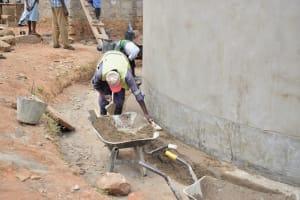 The Water Project: Kyamatula Secondary School -  Finishing Exterior Of Tank