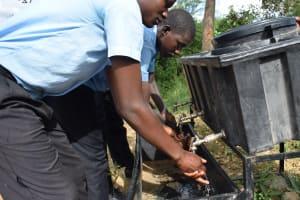 The Water Project: Kyamatula Secondary School -  Handwashing At New Station