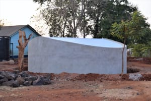 The Water Project: Kamulalani Primary School -  Tank Cement Dries
