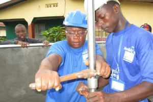 The Water Project: Lungi, Rotifunk, King Fuad Hafis Islamic School -  Fixing Pipe Into Another