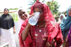 The Water Project: Lungi, Rotifunk, King Fuad Hafis Islamic School -  Mada Haja Sankoh Happy Drinking The Well Water