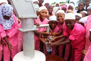 The Water Project: Lungi, Rotifunk, King Fuad Hafis Islamic School -  Students Celebrate At The Well