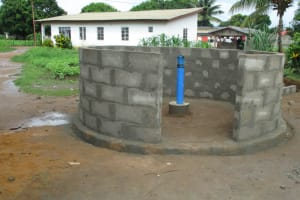 The Water Project: Lungi, Rotifunk, King Fuad Hafis Islamic School -  Well Entrance After Setting Blocks