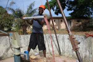 The Water Project: Targrin Health Post -  Bailing The Well