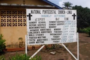 The Water Project: Lungi, Tintafor, #3 DelMoody Street -  Church Sign Board