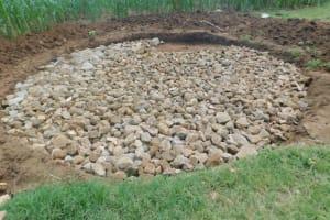 The Water Project: Elufafwa Community School -  Raintank Stone Base