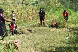 The Water Project: Sichinji Community, Kubai Spring -  Measuring Perimeter