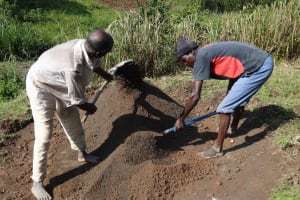 The Water Project: Bungaya Community, Charles Khainga Spring -  Cement Work