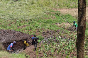 The Water Project: Emmachembe Community, Magina Spring -  Excavation Begins