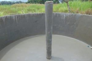The Water Project: Mukangu Primary School -  Interior Plastered Main Support Pillar Drying