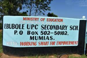 The Water Project: Ebubole UPC Secondary School -  School Sign