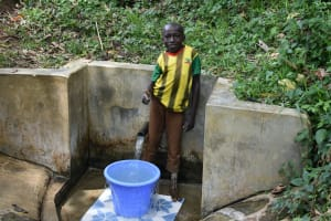 The Water Project: Mungakha Community, Asena Spring -  Litrelius Gives A Thumbs Up At Asena Spring