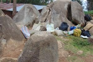 The Water Project: Kapsogoro Primary School -  Makeshift Class Area Between The Rocks