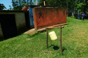 The Water Project: Makale Primary School -  Boys Latrine Block With Tippy Tap Out Front