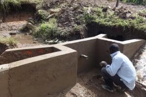 The Water Project: Bungaya Community, Charles Khainga Spring -  Outside Plaster