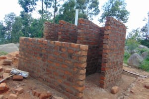 The Water Project: Musasa Primary School -  Latrine Walls Take Shape
