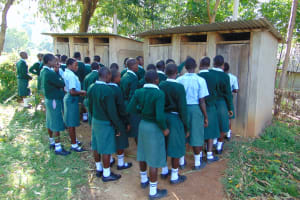 The Water Project: Friends Kuvasali Secondary School -  Girls Queueing To Use Latrines