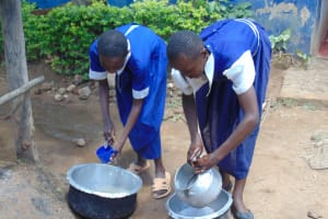 The Water Project: Mutiva Primary School -  Students Washing Dishes
