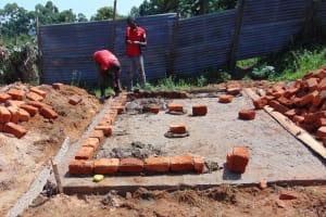 The Water Project: Goibei Primary School -  Brickwork On Latrine Foundation
