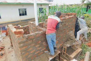 The Water Project: Elufafwa Community School -  Latrine Walls Going Up