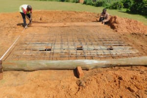 The Water Project: Shinyikha Primary School -  Latrine Foundation Begins Over Pits