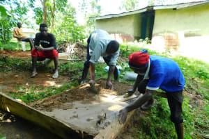 The Water Project: Bung'onye Community, Shilangu Spring -  Sanitation Platform Construction