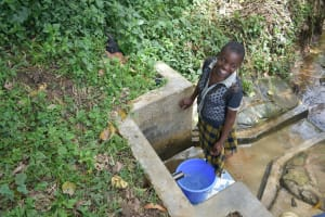 The Water Project: Mungakha Community, Asena Spring -  Smiling Fetching Water