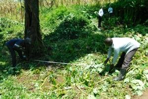 The Water Project: Bung'onye Community, Shilangu Spring -  Foundation Measurements